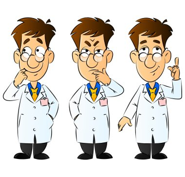 Doctor, Engineer, Scientist or Laboratory. Gestures and Emotions. Set of Mascots.