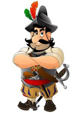 Cartoon Spanish conquistador. Set mascots.