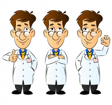 Doctor, Engineer, Scientist or Laboratory. Gestures and Emotions. From a large series of images. clip art vector