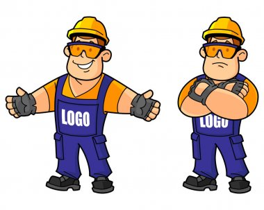 Builder, working, or foreman. From a large set of mascots. Replace your logo on.