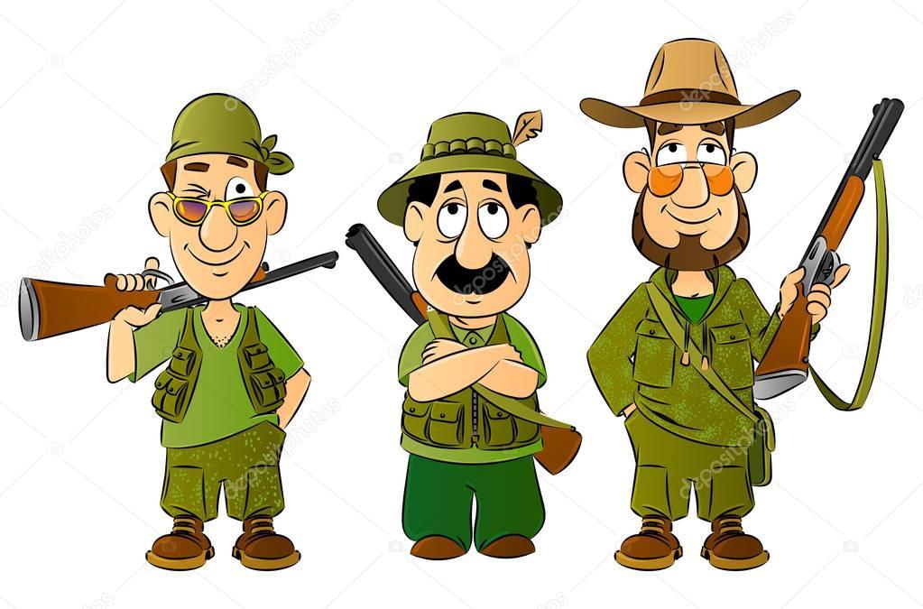 chasseurs de dessin anim u00e9 set de mascottes image hunting clipart gif hunting clipart images