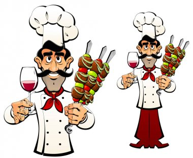 Caucasian chef offers shish kebab and wine.