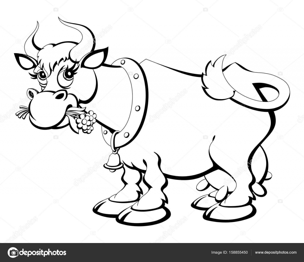 Coloring book. Cartoon cow chewing grass. — Stock Vector © comsorg ...