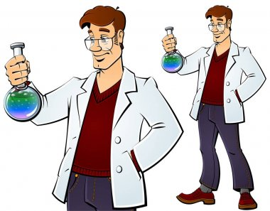 Scientist with a chemical bulb.
