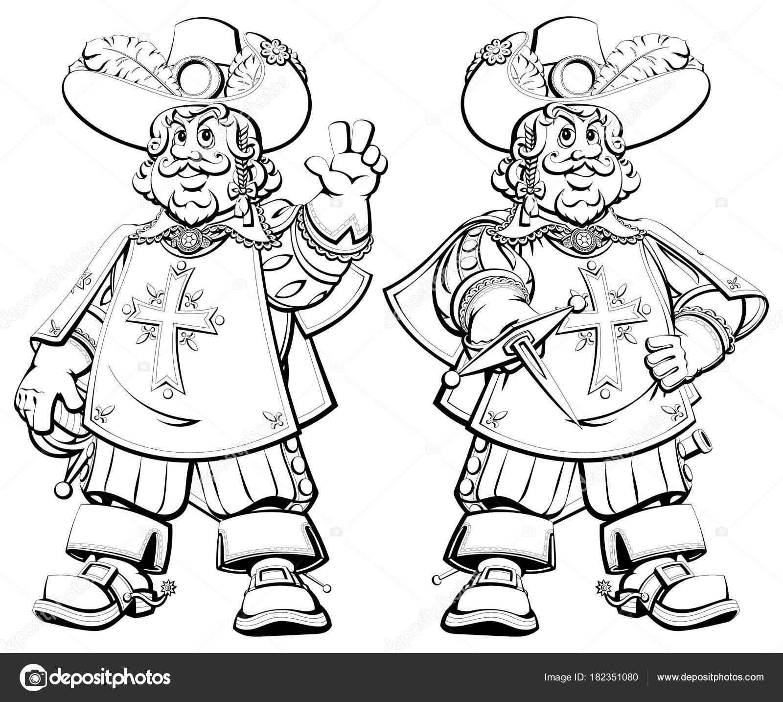 Libro Colorear Mosquetero Real Francesa Dibujos Animados — Vector de ...
