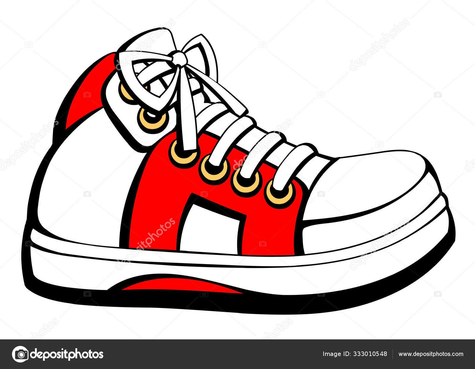 High White Sneakers Cartoon Style Stock Vector C Comsorg 333010548