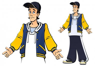 Teenager guy, schoolboy, student. In a baseball jacket and a university jacket. In full growth. A set of images. Comic book style. stock vector