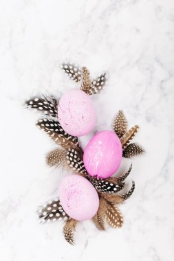 Stylish background with feathers and pink easter eggs