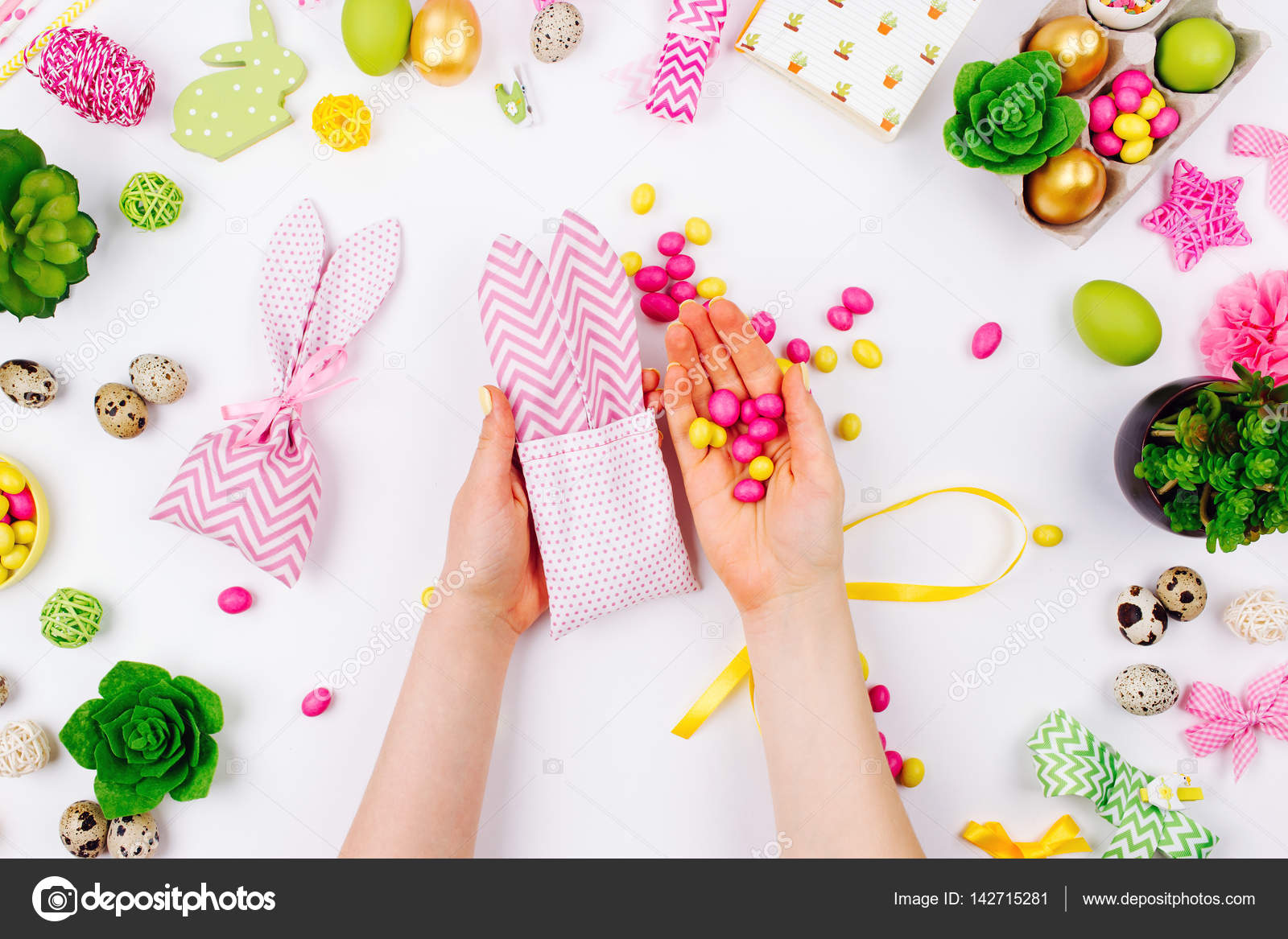 Woman wraps treats in fabric bunny gift bags. Easter concept. Flat ...
