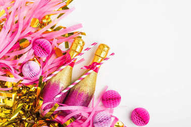 golden and pink champagne bottles