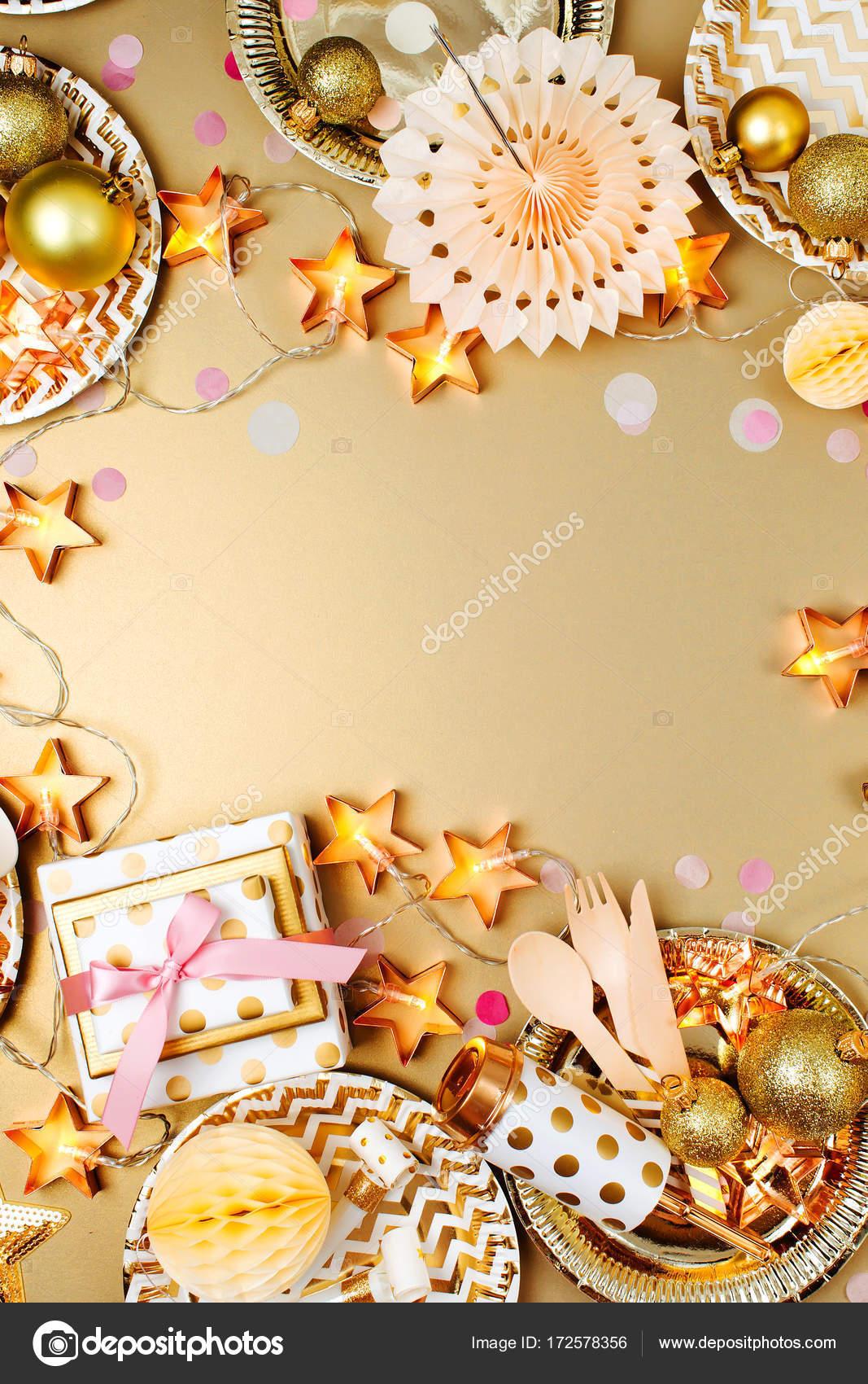 frame with golden party decorations — Stock Photo © Igishevamaria ...
