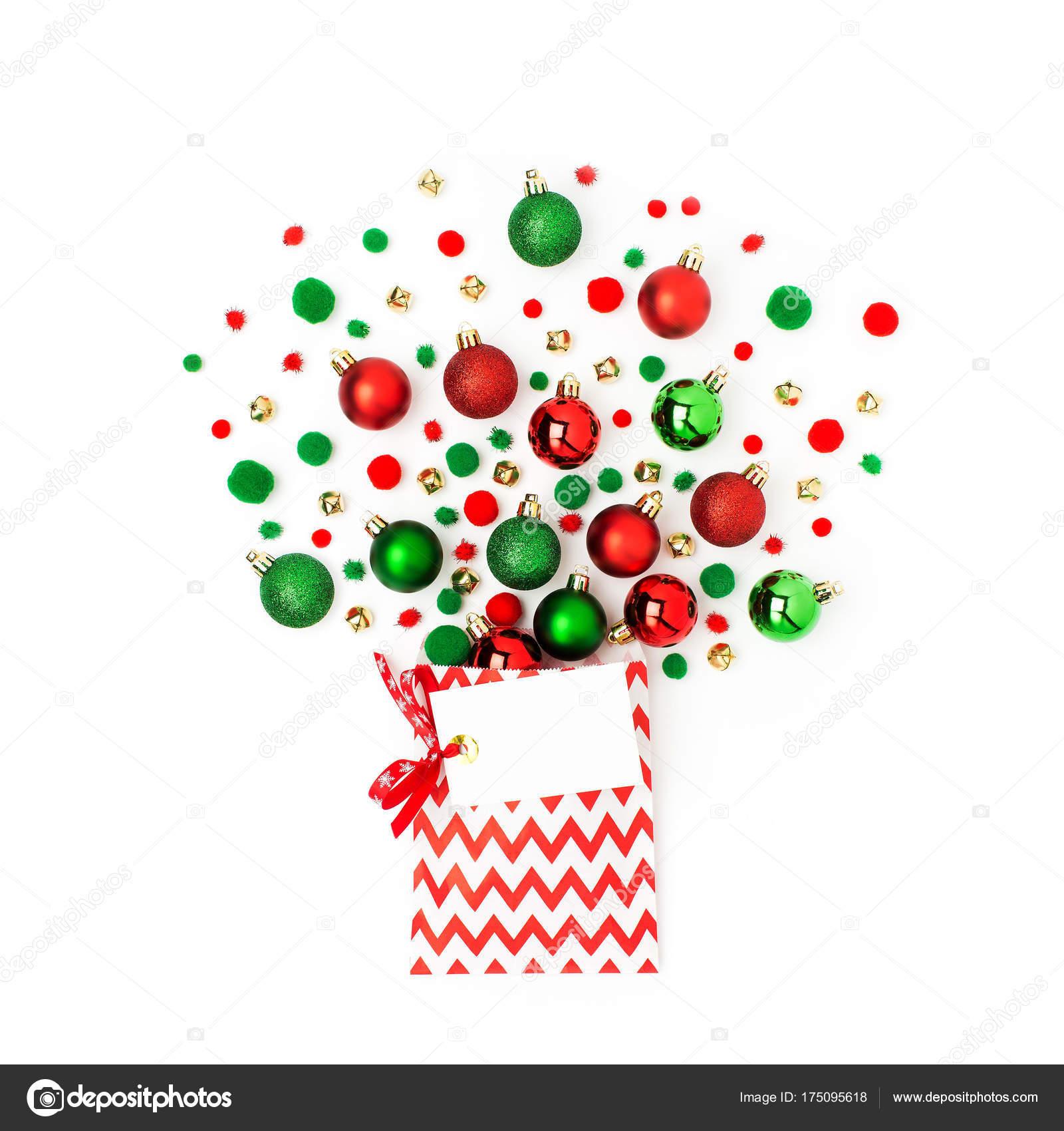Motif Boules Noël Rouges Sac Cadeau Avec Carte Vierge Fond