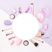 Fotografie Frame made of female accessory and cosmetic products. Flat lay