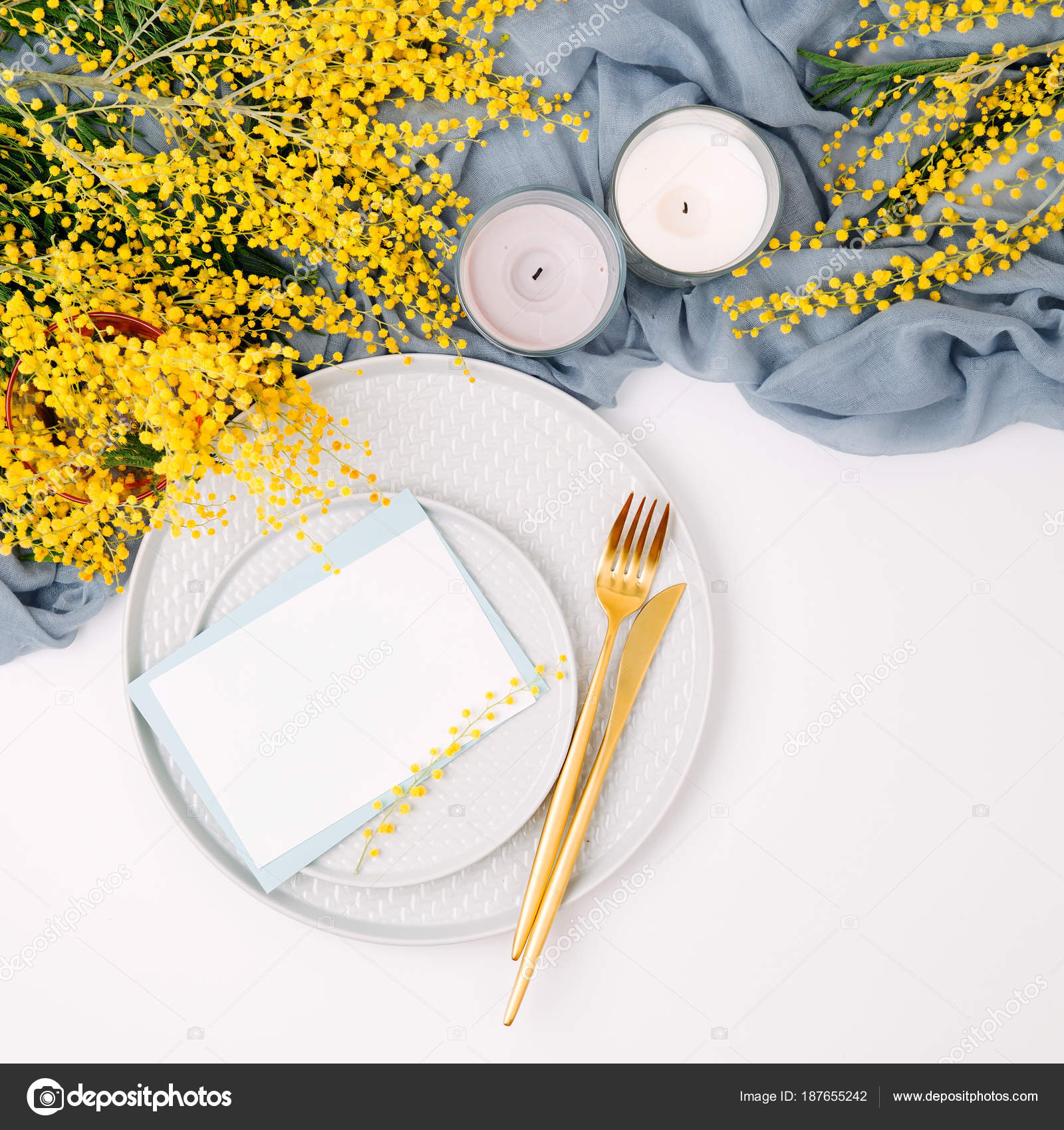 Festive Table Setting Plates Cutlery Gray Decorative Textile Yellow