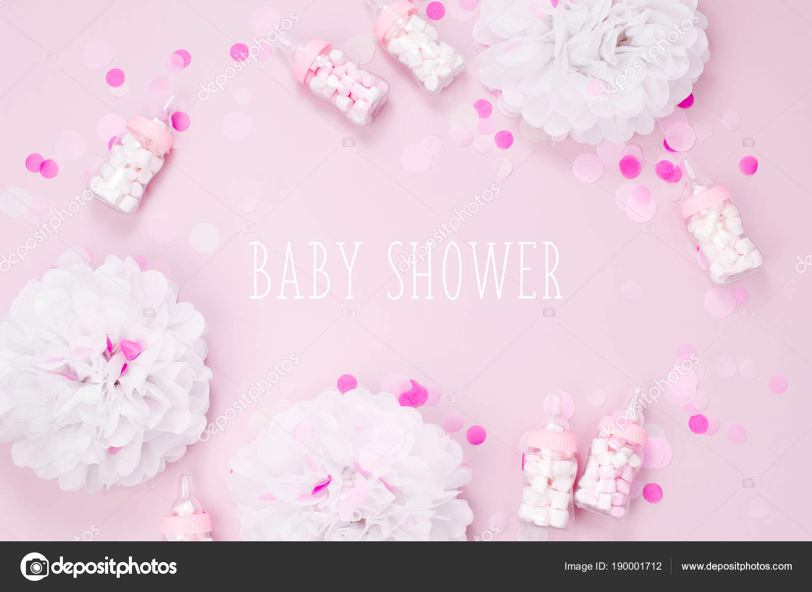 Frame Made Of Decorative Baby Milk Bottles With Candies And Paper  Decorations For Baby Shower Party. U2014 Photo By Igishevamaria