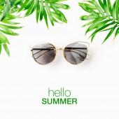 Tropické listy, sluneční brýle a Ahoj léto nápisy izolovaných na bílém pozadí