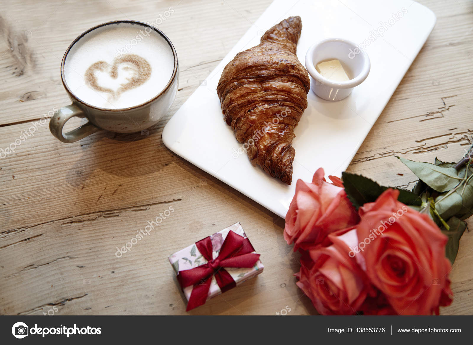 Fresh Bakery Croissant, Coffee With Heart Sign, Rose Flowers On Wooden  Table. Romantic Breakfast For Valentineu0027s Day Celebrate Concept U2014 Photo By  Pogorelova