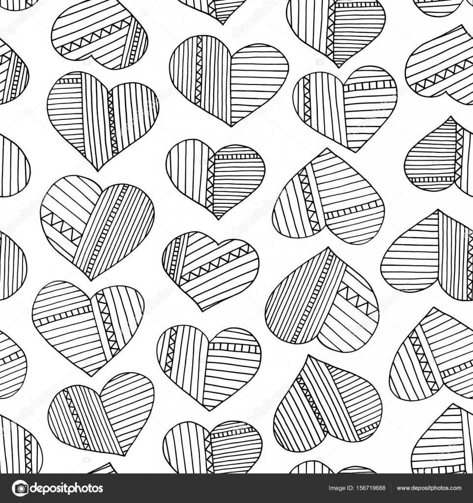 Corazones y rayas patrón abstracto dibujado a mano. Fondo ...