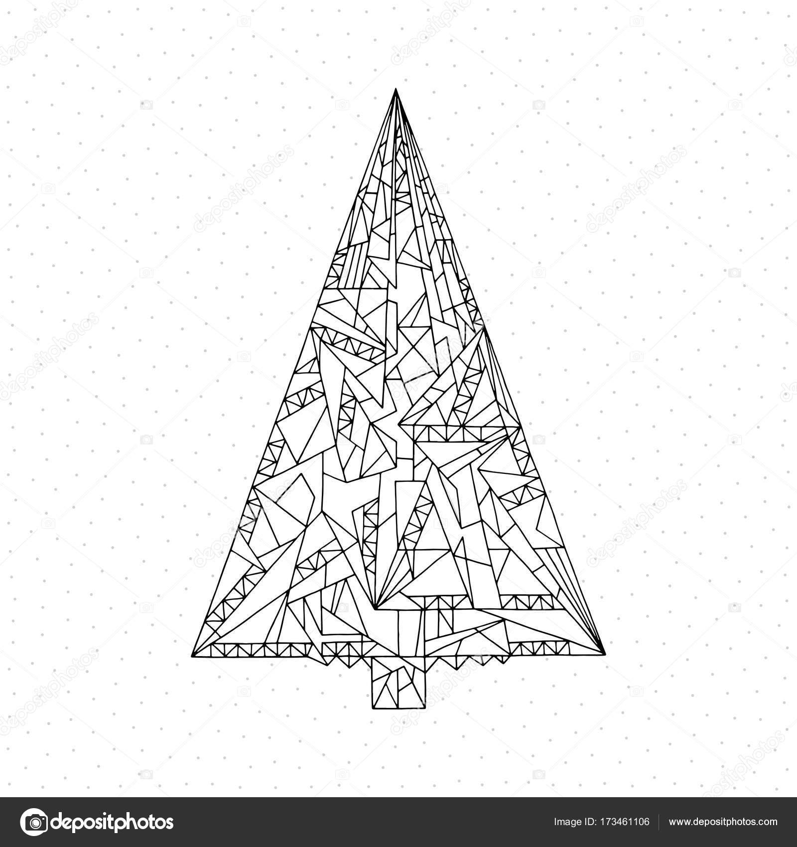 Albero Di Natale Da Colorare Astratto Di Inverno Vacanze Vettoriale