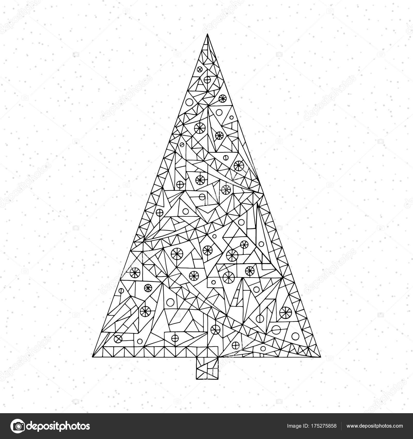Kleurplaten Gelukkig Nieuwjaar.Kleurplaat Kerstboom Hand Getrokken Abstracte Winter Vakantie