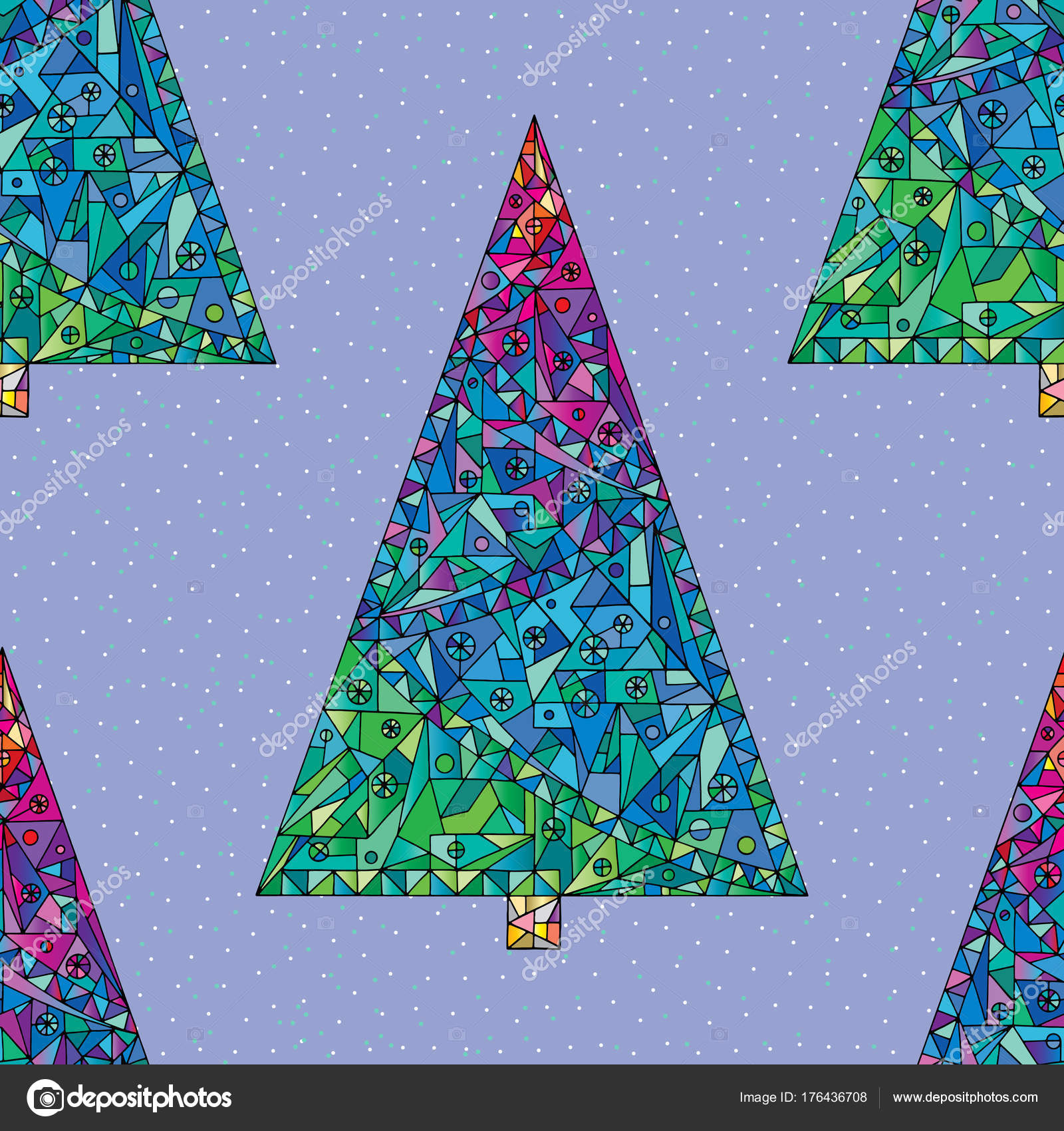 Christmas Trees Pattern Happy New Year Seamless Background Winter Holidays Stylish Vector Texture For Wallpaper Wrapping Paper Textile Design Surface