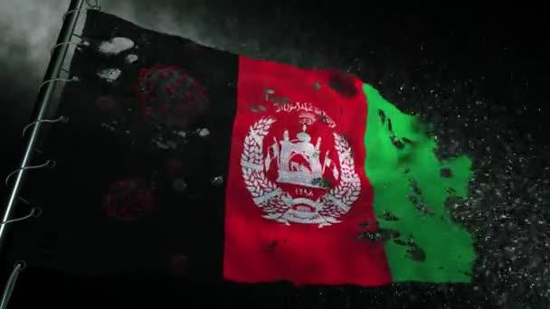 Die Flagge Afghanistans ist zerrissen und mit dem Virus Covid-19 oder Corona markiert