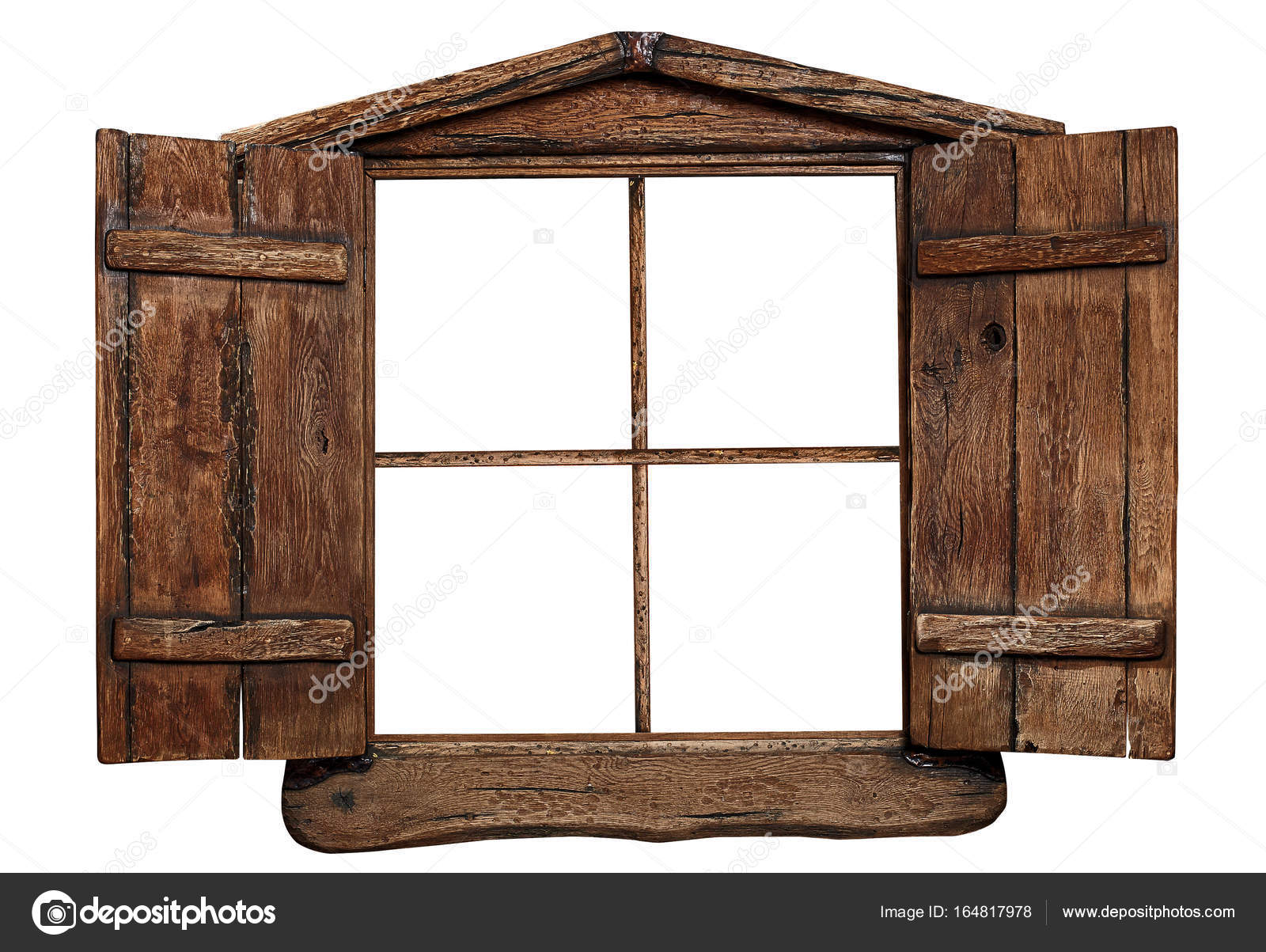 Old grunge wooden window frame, isolated on white — Stock Photo ...