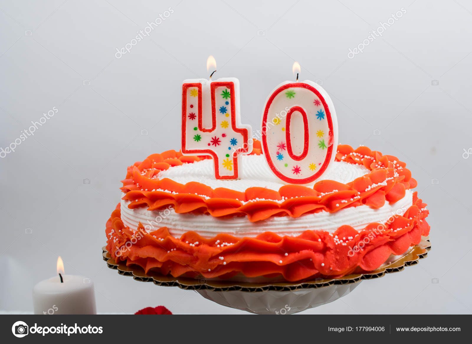 Decorated Cake With 40 Candle Stock Photo Chinook203 177994006
