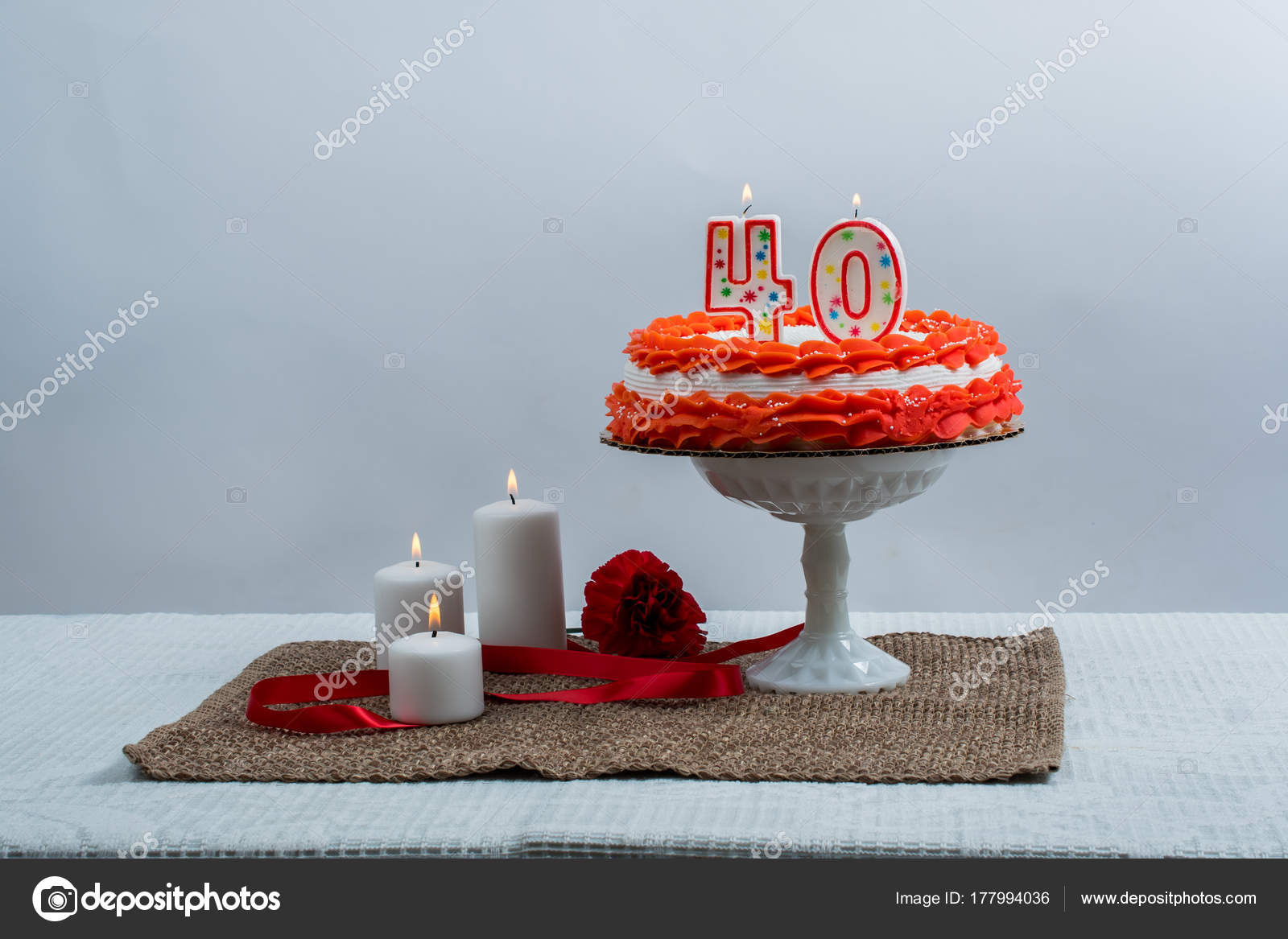 Decorated Cake With 40 Candle Stock Photo Chinook203 177994036