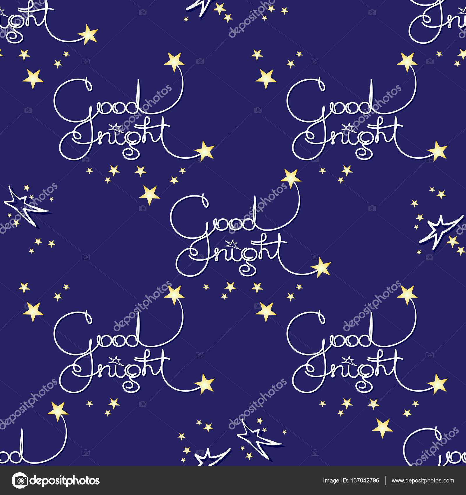 Good Night Vector Seamless Pattern Of Handwritten Words And Stars