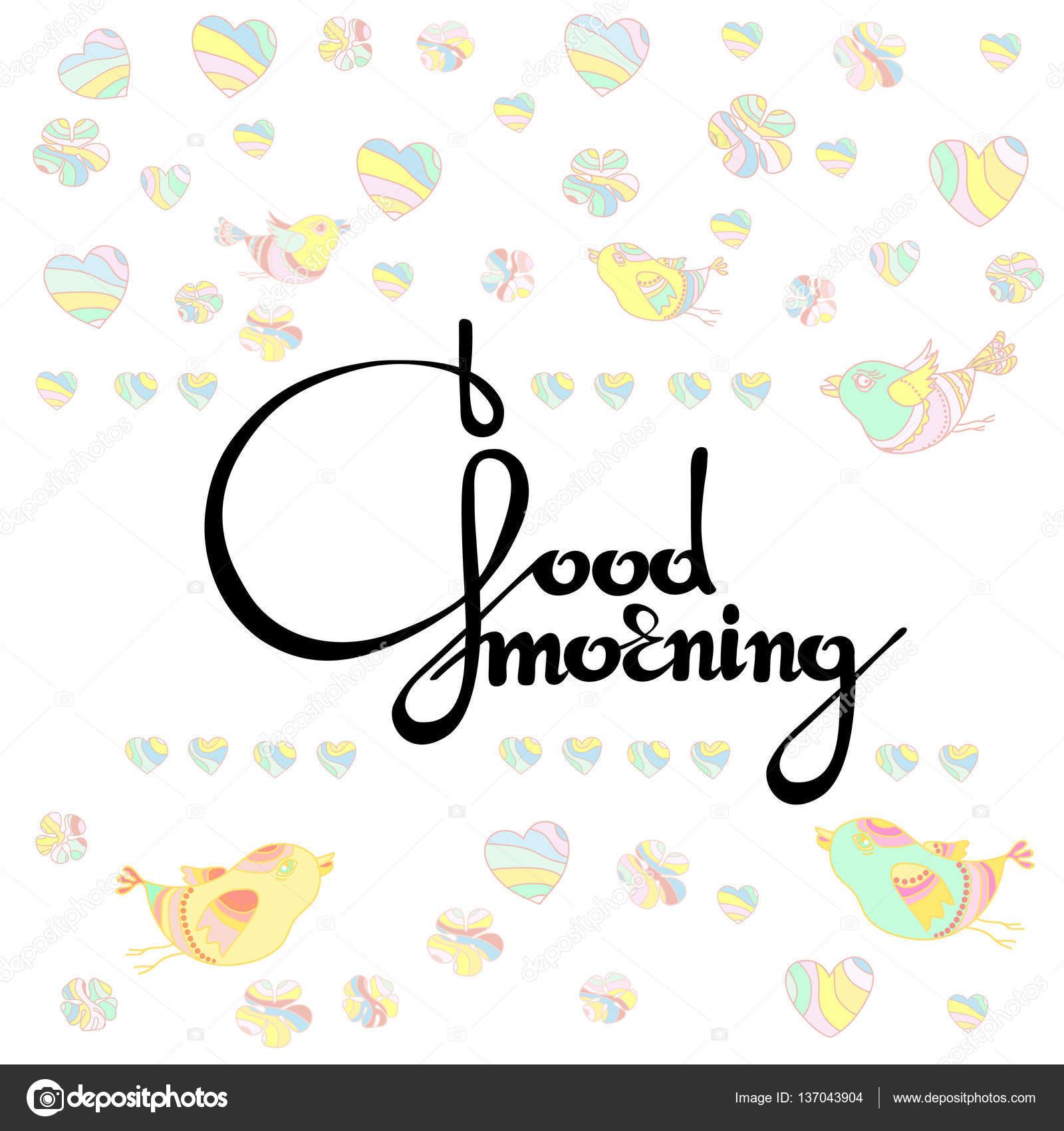 Vector Illustration Of Handwritten Words Good Morning Stock