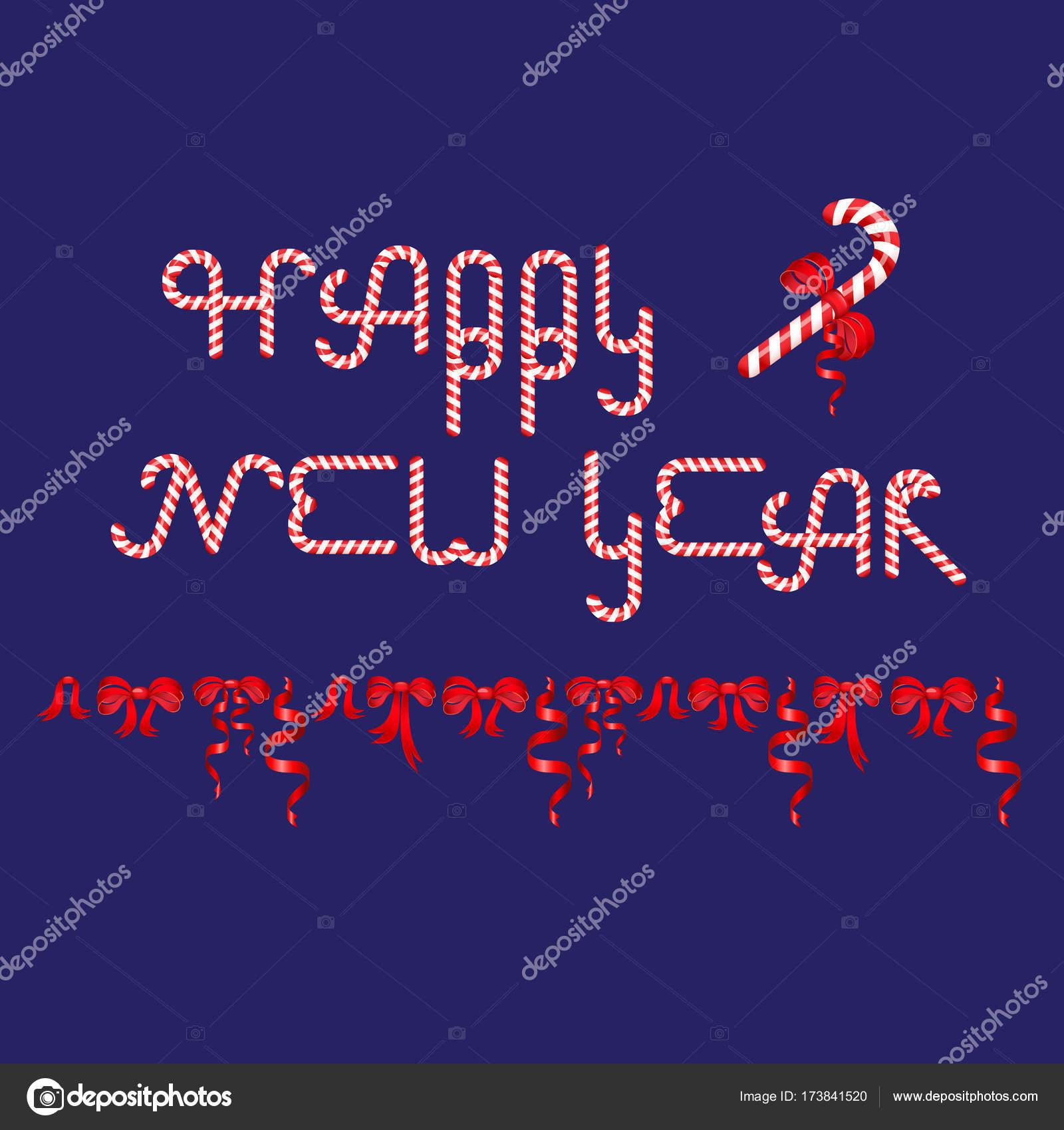 Prosit Neujahr Worte bestand aus Christmas Candy Cane — Stockvektor ...
