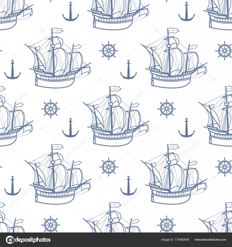 Sin fisuras patrón Marina con barcos de vela. Vector de — Archivo ...