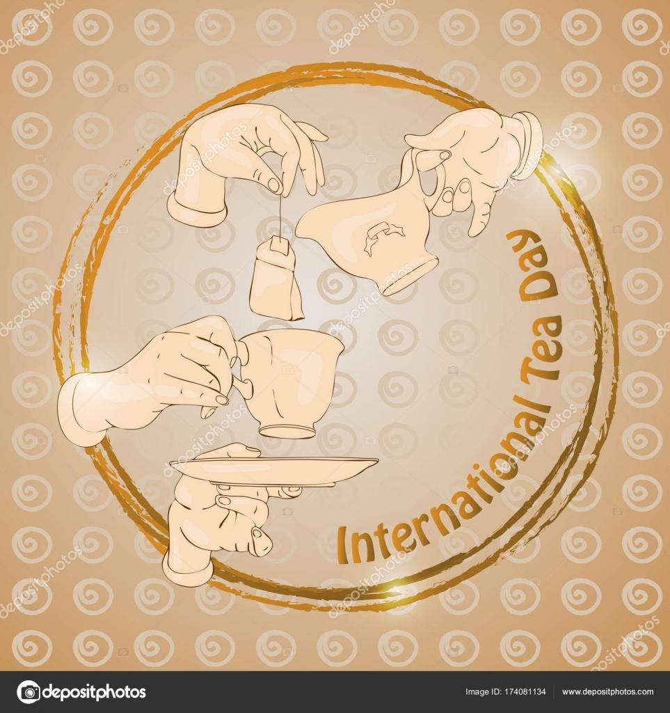 Internationalen Tee-Tag. Vektor-Illustration mit Tasse, Hände ...