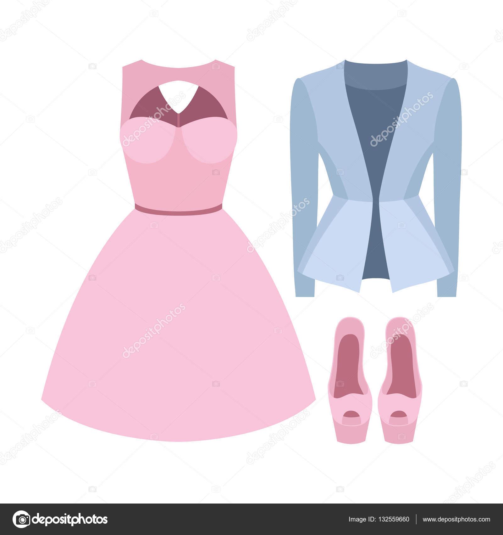 c9553d797 Sada oblečení trendy Dámské sako, šaty a doplňky. Vektorové ilustrace —  Vektor od komirenkolena