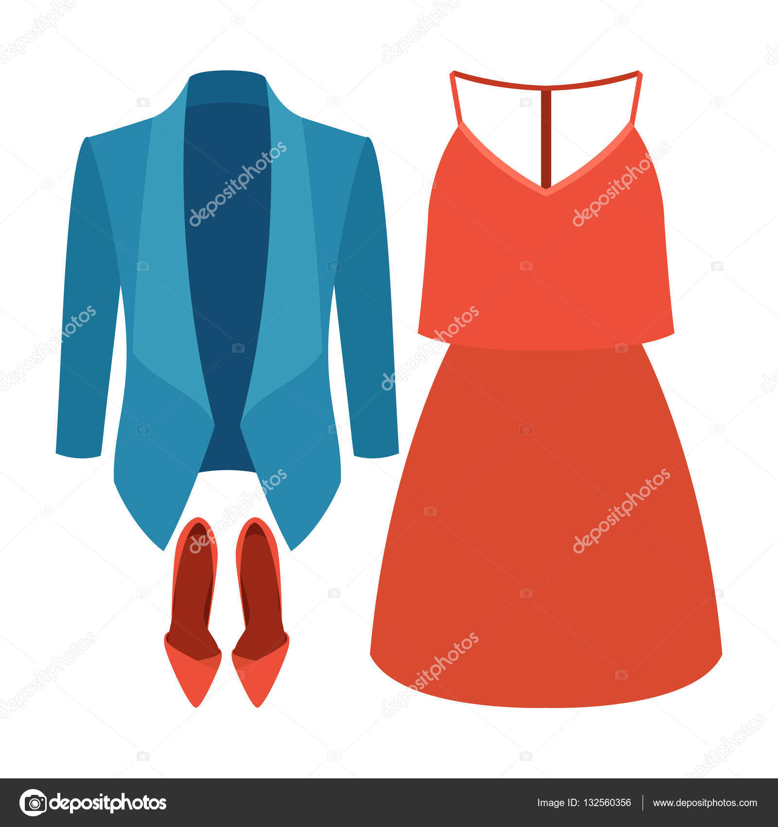 dd156099a Sada oblečení trendy Dámské sako, šaty a doplňky. Vektorové ilustrace —  Vektor od ...