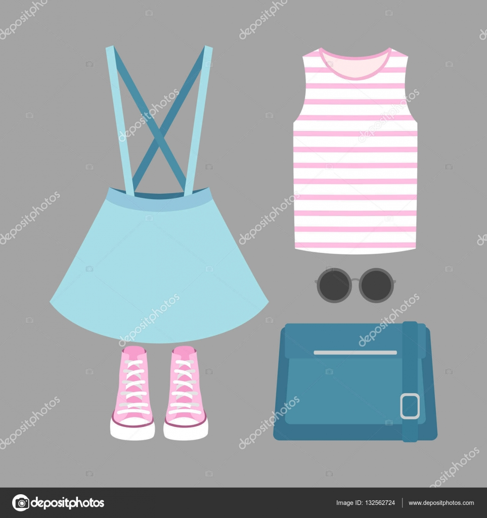 b1e3cc02a Sada oblečení módní Dámská sukně, tričko a doplňky. Vektorové ilustrace —  Vektor od ...