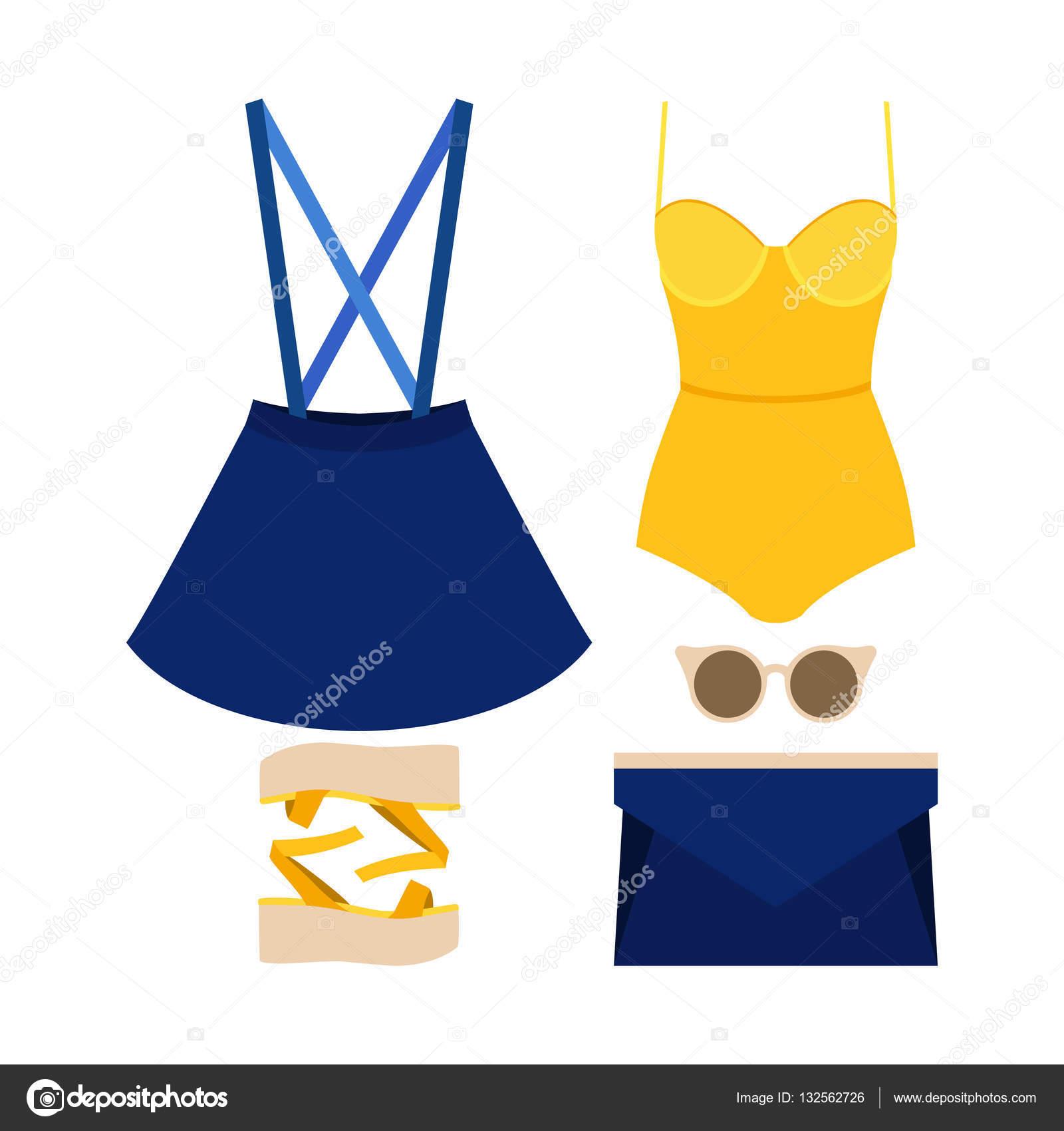 6ace47e0f9c Σετ μοντέρνα γυναικεία ρούχα με φούστα, κορμάκι και αξεσουάρ. Εικονογράφηση  διάνυσμα — Διάνυσμα με ...