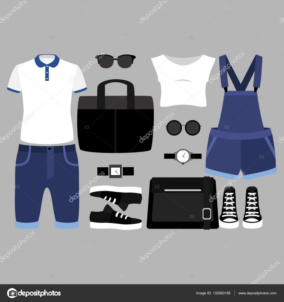Sada módní dámské a Pánské oblečení a doplňky — Stock Vektor ... 0707433ae3