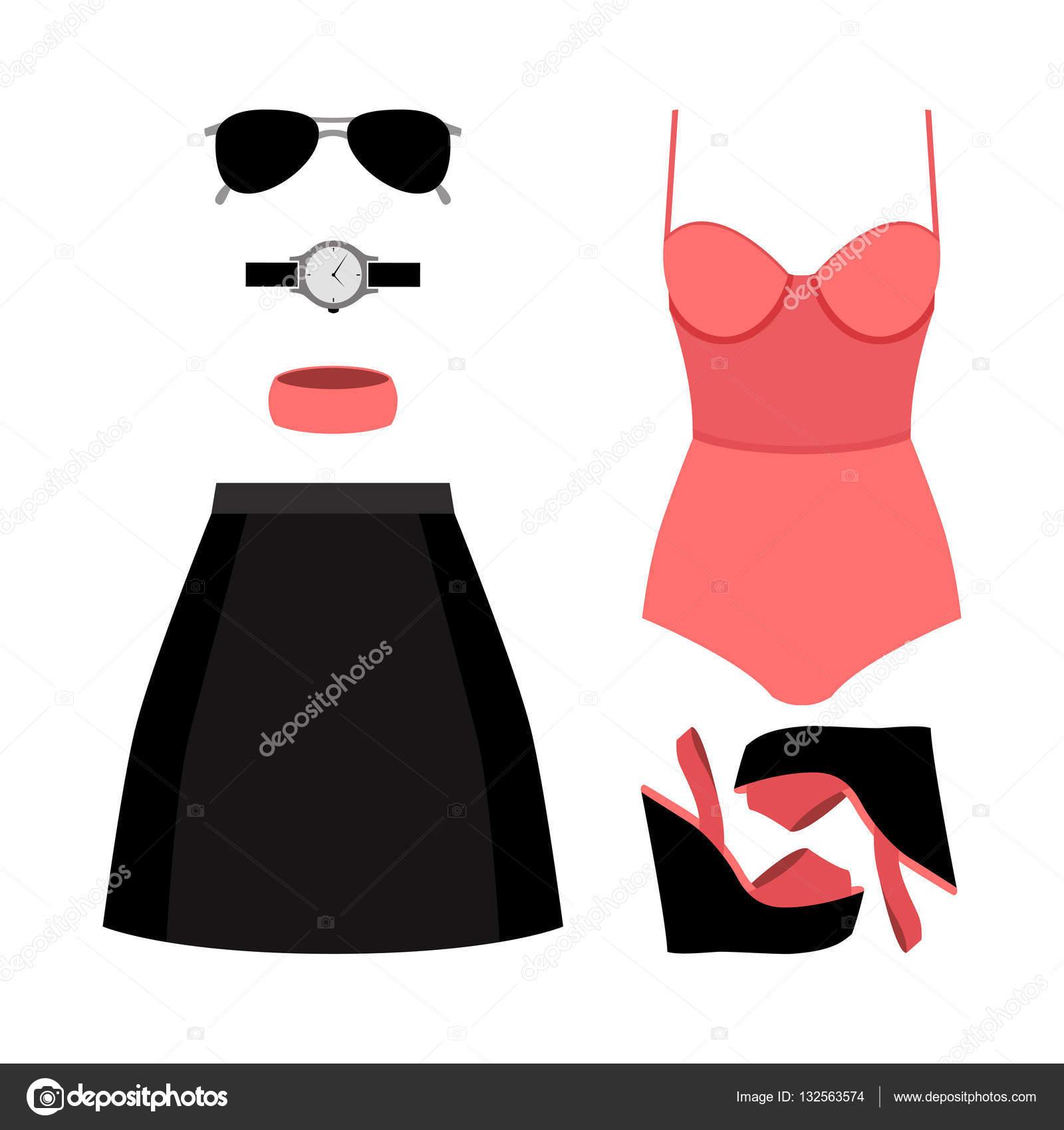 57323ac88 Sada oblečení módní dámské sukně, plavky a doplňky. Vektorové ilustrace —  Vektor od ...
