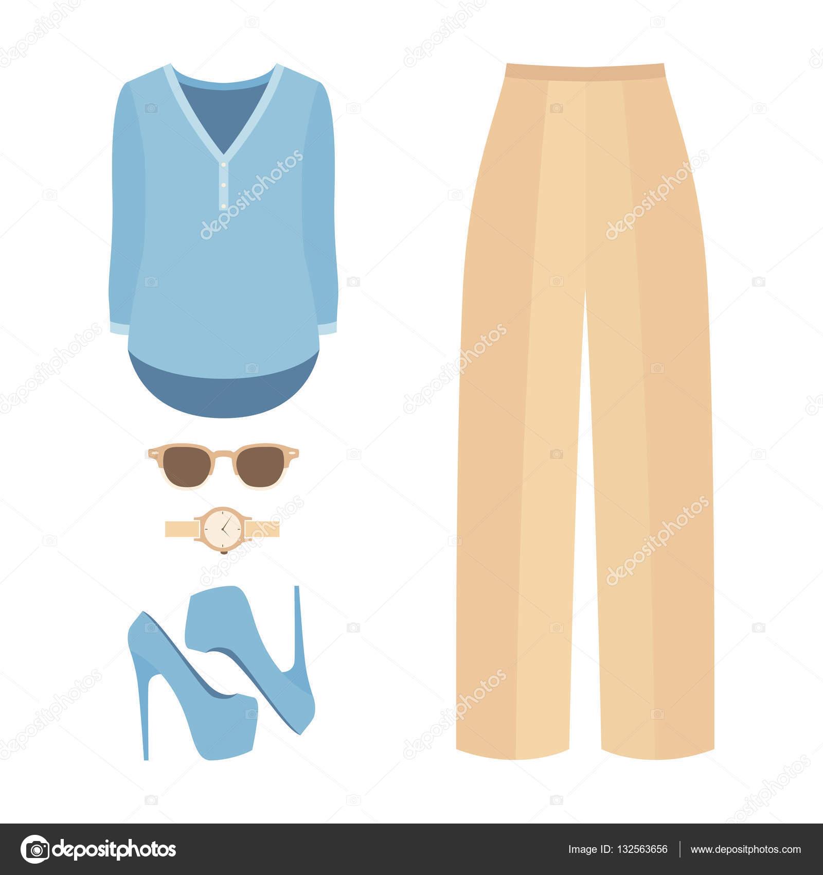 5c9ff7a56e83cb Conjunto de roupas da moda feminina com cuecas, camisa e acessórios ...