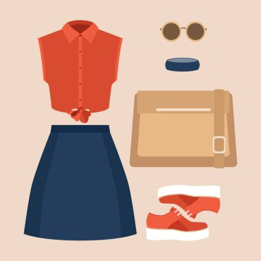 Set of trendy women's clothes with skirt, shirt and accessories