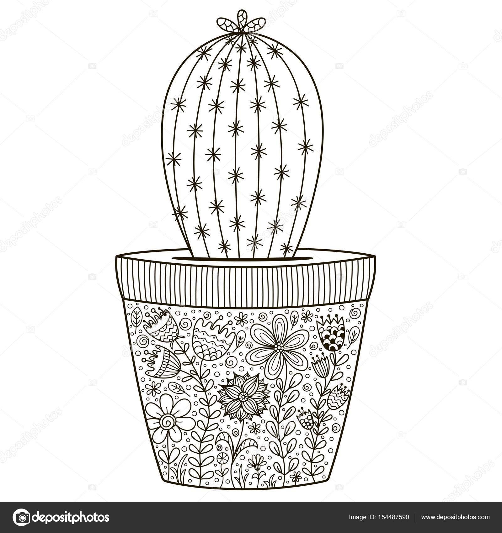 Cactus in de pot met bloemen sieraad voor coloring boek doodle stockvector juliyas 154487590 - Cactus coloriage ...