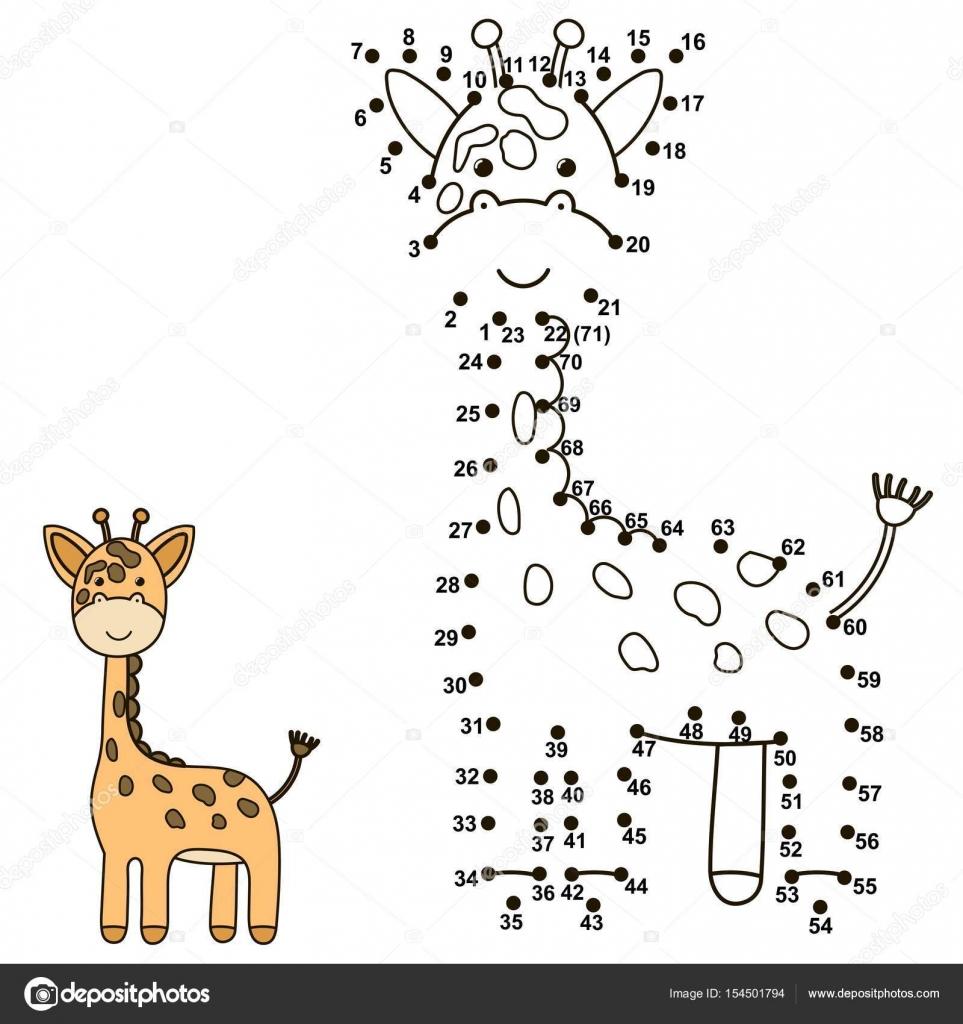 Verbinde die Punkte um eine niedliche Giraffe zeichnen und Farbe es ...