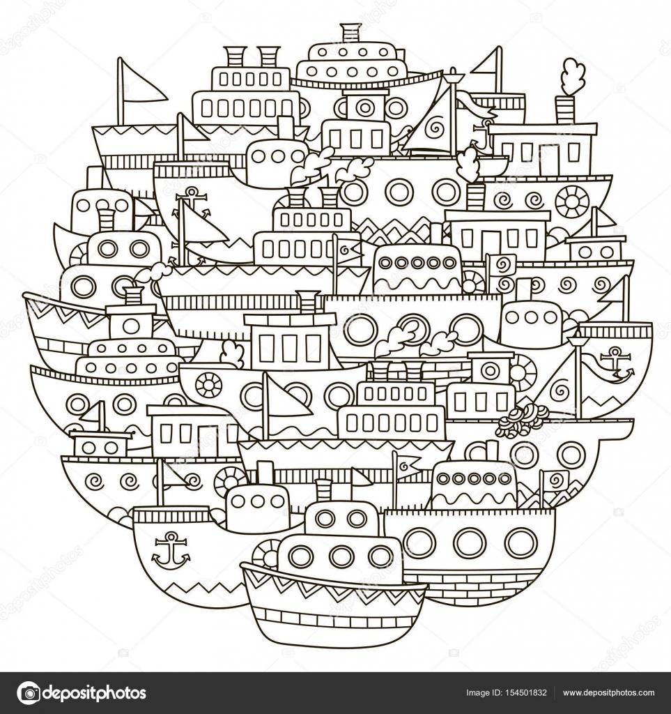 Patrón de forma de círculo con doodle lindo barcos para colorear ...