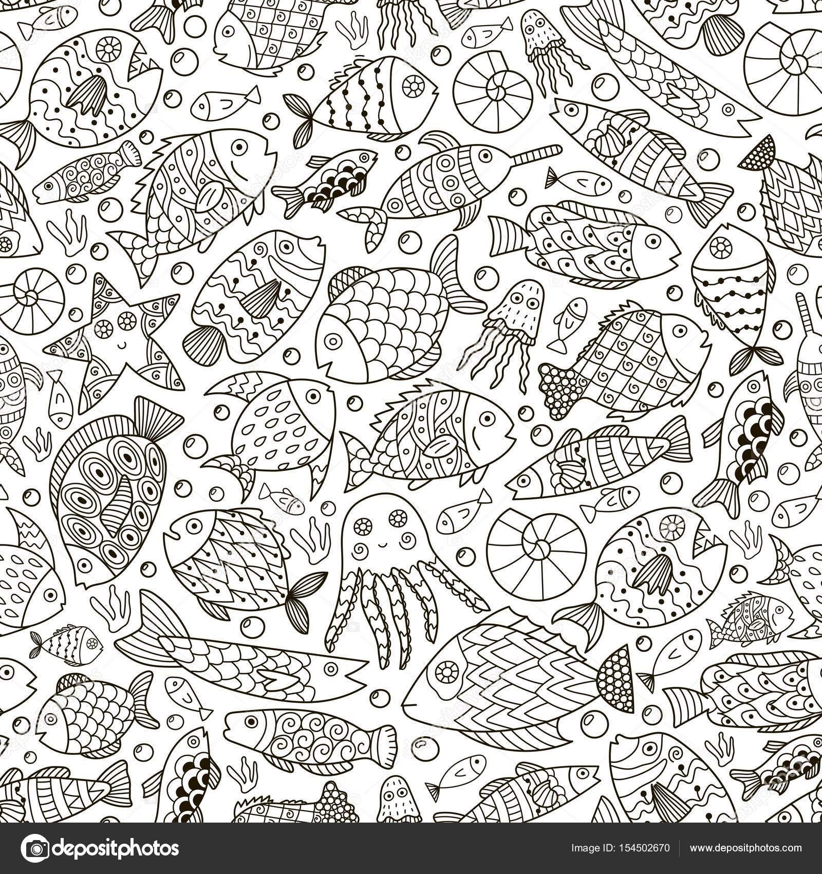Colección océano con doodle de peces para colorear libro — Archivo ...