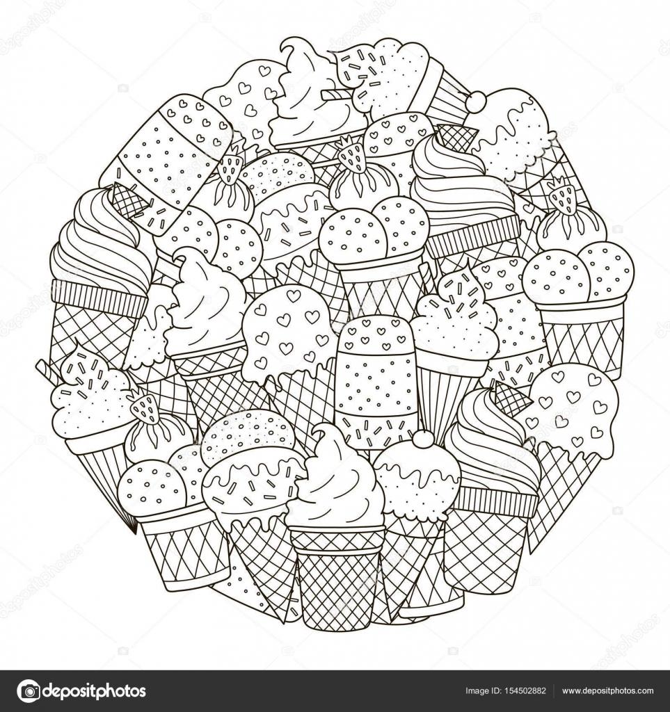 Patrón de forma de círculo con lindos helados para colorear libro ...