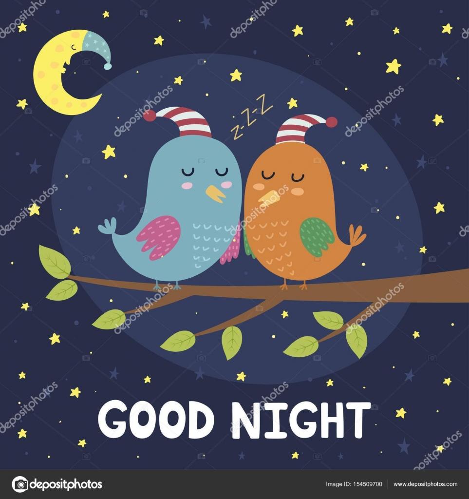 Tarjeta de buenas noches con aves para dormir lindas — Vector de stock