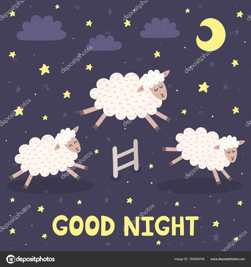 Good Night Card With The Cute Sheeps Jumping Over A Fence. Sweet Dreams  Background. Vector Illustration U2014 Vector By JuliyaS