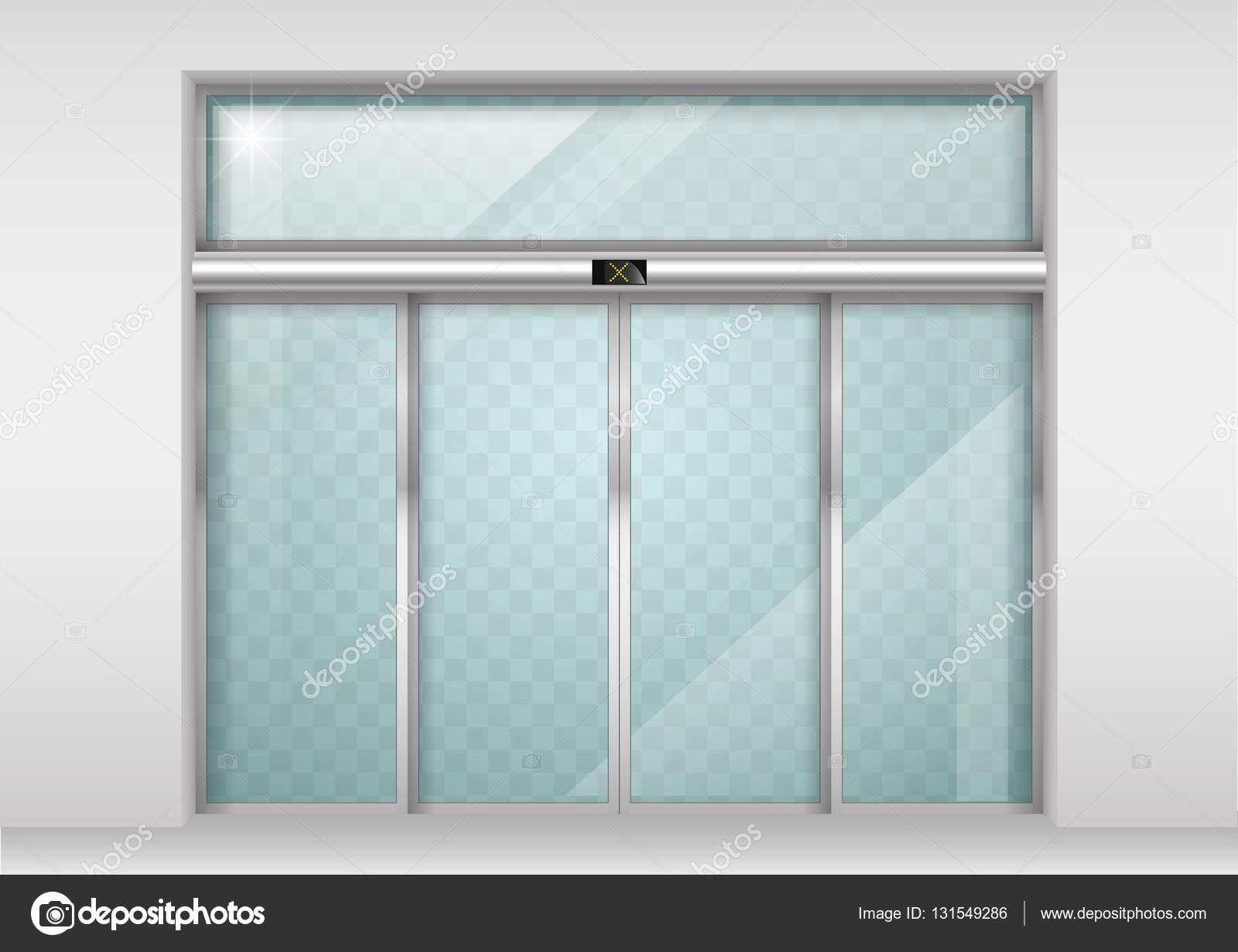Automatische Glazen Deuren.Automatische Schuifdeuren Van Glas Stockvector C Denisik11 131549286
